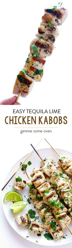 Easy Tequila Lime Chicken Kabobs -- quick and easy to prepare, and perfect for grilling! | gimmesomeoven.com