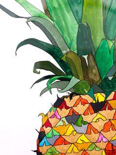 Squeezed Daily-Tropical Living: king of the fruit Pineapple Illustration, Pineapple Art, Pineapple Kitchen, Fruit Art, Tropical Decor, Art Lessons, Creative Art, Art For Kids, Art Drawings