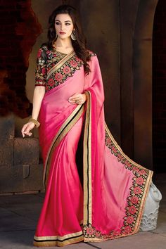 Looking for latest designer party wear sarees or traditional party wear sarees? Shop online from the party saree collection at Utsav Fashion for fancy party sarees. Chiffon Saree, Satin Saree, Saree Dress, Bollywood Dress, Saris, Trajes Pakistani, Lehenga Choli, Anarkali, Sari Bluse