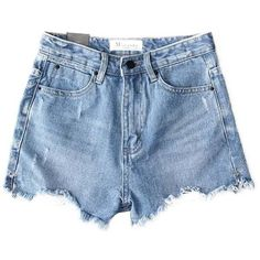 Chicnova Fashion High Waisted Denim Shorts ($22) ❤ liked on Polyvore featuring shorts, high rise denim shorts, highwaist shorts, high rise shorts, high-waisted shorts and high-rise shorts