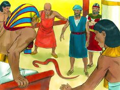 Pharaoh demanded that Moses and Aaron show him a miracle. Aaron threw his staff down and it became a snake. Pharaoh summoned his wise men and sorcerers. They threw down their staffs and their staffs also became snakes. – Slide 12