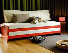 Home Design and Interior Design Gallery of Appealing Bright Red Convertible Bed Sofa Diy Sofa, Twin Bed Sofa, Twin Beds, Bed Couch, Bunk Bed, Sofa Beds, Trundle Beds, Chair Bed, Loveseat Sofa