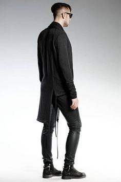 Black Long Assymetrical CARDIGAN High Quality Virgin wool