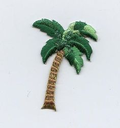 Iron On Embroidered Applique Patch Small Tropical Palm Tree