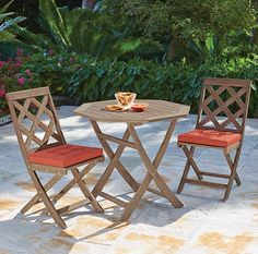 """Home Decorators CALDERWOOD 36"""" foldinh OUTDOOR DINING TABLE $180. 2 chairs $250. For the patio"""