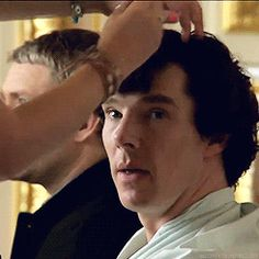Unlocking Sherlock - Benedict's hair (gifset) he reaches for the striped mug in the third one!!!