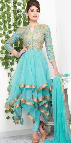 Dani Sky Blue Layered Georgette Designing Anarkali Suit With Chiffon Dupatta.