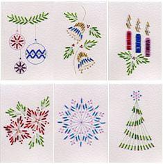 Cartes brodéesStitching Cards (Cartes à Broder) Lot Numéro 20: Noël perles