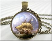 Ship Art Pendant Resin Picture Pendant Nautical Jewelry Sailing Necklace (056RB)