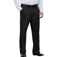 George Men's Premium Pleat Front Khaki Pants, Size: 34 x 30, Black