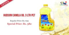 Shop Online for #Hudson #Canola #Oil 3Ltr @ Kiraanastore. Get Best Quality & Price with Free Home Delivery!!