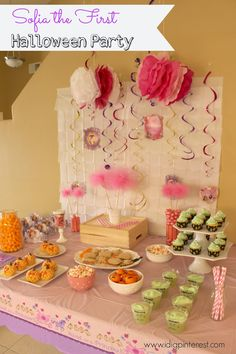 Disney Jr. Sofia the First Halloween Party!  So many fun details!  Pumpkin Krispies, Frankenstein Floats, Monster Eye Cupcakes and more! #JuniorCelebrates #shop