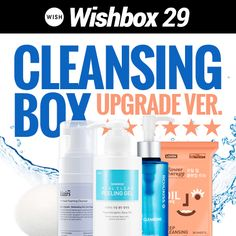 Wishbox No.29 : Cleansing Box (Upgrade) 'All about Cleansing !'It is more important to wash yourface clean than to wear make-up.Value, USD 75.88 > USD 49.99 (34%OFF)Contents : [SKINMISO] Real Clean Peeling Gel[KLAIRS] Rich Moist Foaming Cleanser[ROJUKISS] Pore Deep Cleansing Oil[LOVIEN] Flower Therapy Cleansing Tissue[CHICA Y CHICO] Konjac Sponge