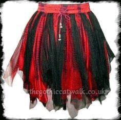 Black & Red Fairy Goth Mini Tutu Skirt