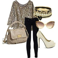 Sequins with black skinnies