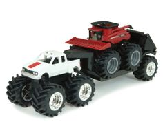 5 Inch Monster Treads CaseIH Truck with Combine/Trailer