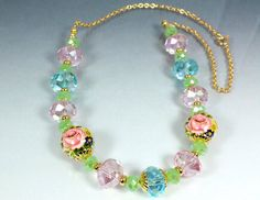 Pink Rose Tensha Necklace with Pastel Crystals