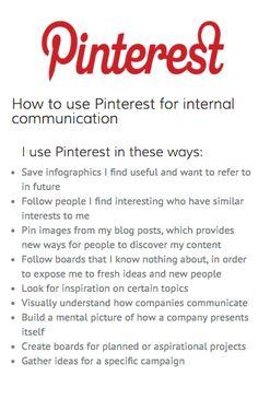 Hoe kan je Pinterest gebruiken voor interne communicatie? Je leest het hier!   http://www.allthingsic.com/pinterest/