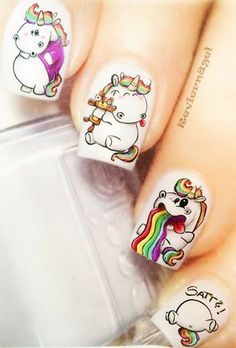 Nägel - #nagel - #Genel Really Cute Nails, Cute Nail Art, Love Nails, Pretty Nails, Fun Nails, Unicorn Nail Art, Water Color Nails, American Nails, Kawaii Nails