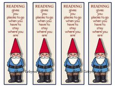 Printable Bookmarks Cute Gnome Quote About by FreshAirPrintables
