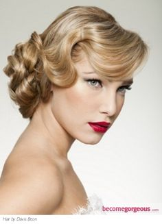 Bride's retro finger curls chignon old Hollywood bridal hair ideas Toni Kami Wedding Hairstyles ♥ ❶ Red lipstick Perfect make up Retro Hairstyles, Formal Hairstyles, Wedding Hairstyles, Wave Hairstyles, Medium Hairstyles, Flapper Hairstyles, Easy Updo Hairstyles, Stylish Hairstyles, Romantic Hairstyles