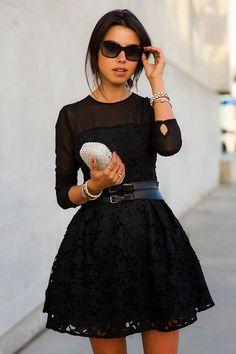 Vestido encaje bordado manga larga-negro 15.16