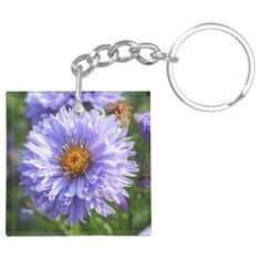 Purple Aster Floral Key Ring - Ideal for a little gift!  #keyrings #giftsforher #keytabs #zazzlemade #gifts (affiliate link)