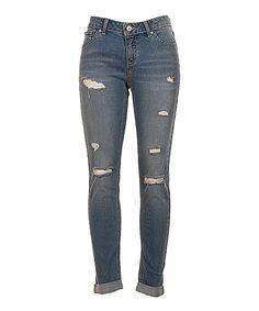 Medium Blue Distressed Denim Skinny Jeans