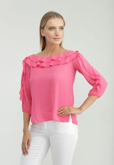 Spring Trend, layered ruffle sleeve and neckline. Flattering boat neck silhouette in bold colors. Ruffle Sleeve, Ruffle Blouse, Chuck Taylor Shoes, Cool Outfits, Fashion Outfits, Fashion Statements, Online Collections, Spring Trends, Ankara Styles