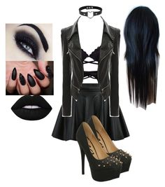 A fashion look from September 2016 featuring vegan jackets, elastic waistband skirt and lace bustier. Browse and shop related looks. 4 Life, Harley Quinn, Lime Crime, Night Out, Cute Outfits, Gowns, Shoe Bag, Badass, Polyvore
