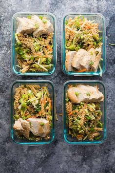 Spend thirty minutes making this meal prep sesame chicken pasta salad and you will have four work lunches ready for the week!