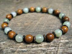 Mens surfer bracelet jade and wood beads by thehappymushroom, £6.20