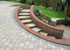 curved brick garden steps at DuckDuckGo Patio Steps, Brick Steps, Outdoor Steps, Garden Stairs, Brick Garden, Garden Paving, Round Stairs, Front Door Steps, Landscape Stairs