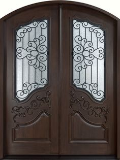 Mahogany Solid Wood Front Entry Door - Double