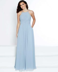 Size Available in junior maid's sizes Fabric: Chiffon Designer Bridesmaid Dresses, Designer Dresses, Wedding Dresses, Formal Wear, Formal Dresses, Light Blue Dresses, Mother Of The Bride, Bridal Gowns, Chiffon