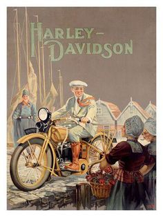 Affiche moto vintage Harley-Davidson