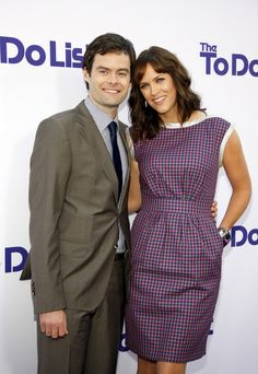 Maggie Carey and Bill Hader at the Los Angeles premiere of 'The To Do List' held at the Regency Village Theater in Westwood, Los Angeles. (July 23, 2013)