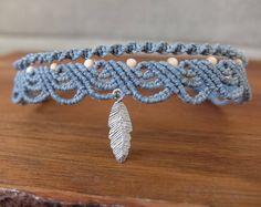 Macrame Anklet grey blue