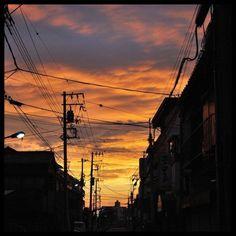 真夏の夕焼け。本当に燃えるように美しく、近所の人たちが通りに出て眺めてました。(no filter)