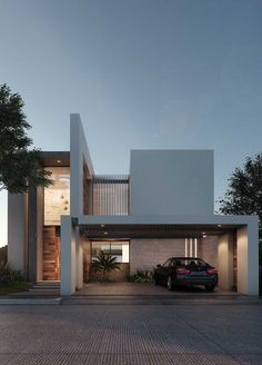 Facade of modern house painted in grey and complimented by details in wood and stone magazine Architecture Design, Minimalist Architecture, Facade Design, Residential Architecture, Exterior Design, Exterior Paint, Villa Design, Modern House Design, Contemporary Design