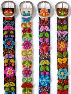 Floral embroidered belt fine belt ivory belt por EmbroideryPeru