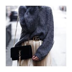 BEAT THE FREEZE: Cozy up with sweaters that keep you warm while still winning you #style points. Pair with logoed leather accessories and a statement skirt for extra polish.  Search @ysl (bag) and 643317 (@gucci belt) to shop at #NETAPORTER #SeeItBuyItLoveIt  #Regram from @aylin_koenig ❤