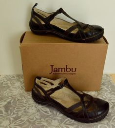 Jambu Charley Leather Strappy Mary Jane Sandals 9/40 Black Comfy Cute Party Fun #Jambu #StrappyMaryJane #Casual