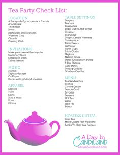 Your ultimate tea party checklist to plan your tea party. Everything you need to plan your tea party on a printable list. Tea Party Games, Tea Party Menu, Tea Party Table, Tea Party Crafts, Tea Party Decorations, Holiday Decorations, Winter Tea Party, Christmas Tea Party, Girls Tea Party