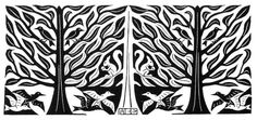M. C. Escher    [Trees and Animals].  [1953]  Wood Engraving