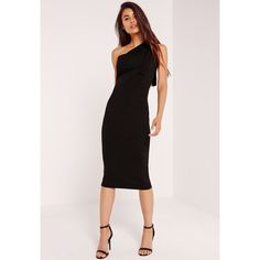 Missguided One Shoulder Bodycon Midi Dress ($45) ❤ liked on Polyvore featuring dresses, black, missguided dress, bodycon cocktail dress, one shoulder bodycon dress, body conscious dress and bodycon dress