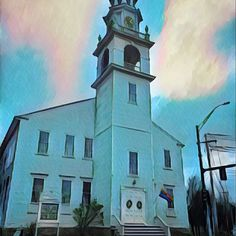First Parish Uitarian church in the center of Kennebunk. I used the Prisma filter: Dallas. My original picture was quite pallid and gray, taken quickly from my car at the stop light. #Kennebunk #Church #maine #Unitarian #uuchurch #smalltown #mainstreet #route1 #prisma #filter #landmark