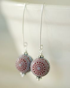 Simple Earrings, Pale Blue and Red Etched Acrylic and Sterling Silver - simplify