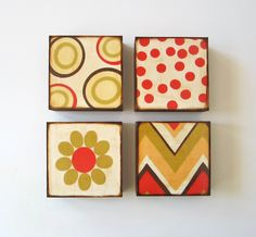 If anyone wants something like this, i can do it.....for WAY less than $108Art Block Four/4 Set 5x5 wood Mix and Match by redtilestudio, $108.00
