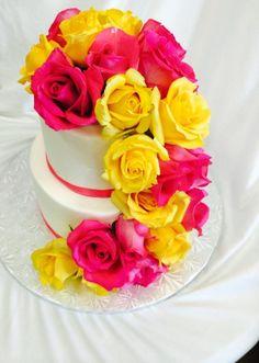 White Fondant Wedding Cake with Cascading Roses